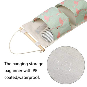 KAKOO 2pcs Cartoon Pattern Hanging Storage Bag Waterproof Cotton Closet Wall Door Storage with 3 Pockets and 2 Pcs Self Adhesive Hooks for Kitchen Bedroom Bathroom Office - iBuy Africa