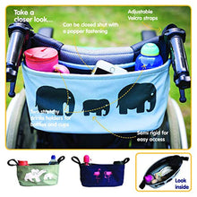 Load image into Gallery viewer, BundleBean Buggy/Stroller Organiser, Storage Bag, Nappy Pouch - fits to Handlebar of Any Pushchair/Buggy/Stroller Polar Bear (Navy Flamingo) - iBuy Africa