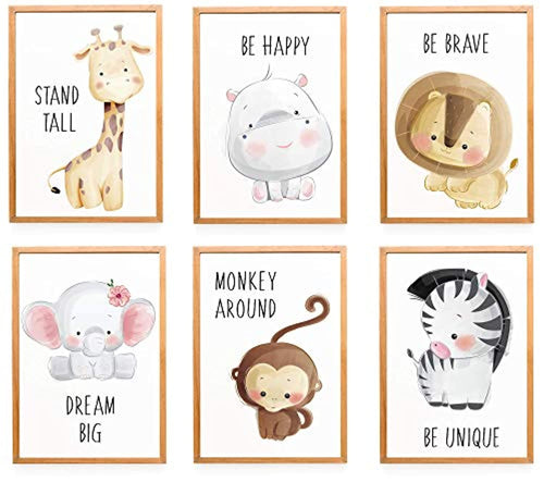 Set of 6 Pictures Animals Nursery Baby Room Decoration Picture A4 Forest Animals Safari Africa Animals Animal Poster Decoration - No Frame - iBuy Africa