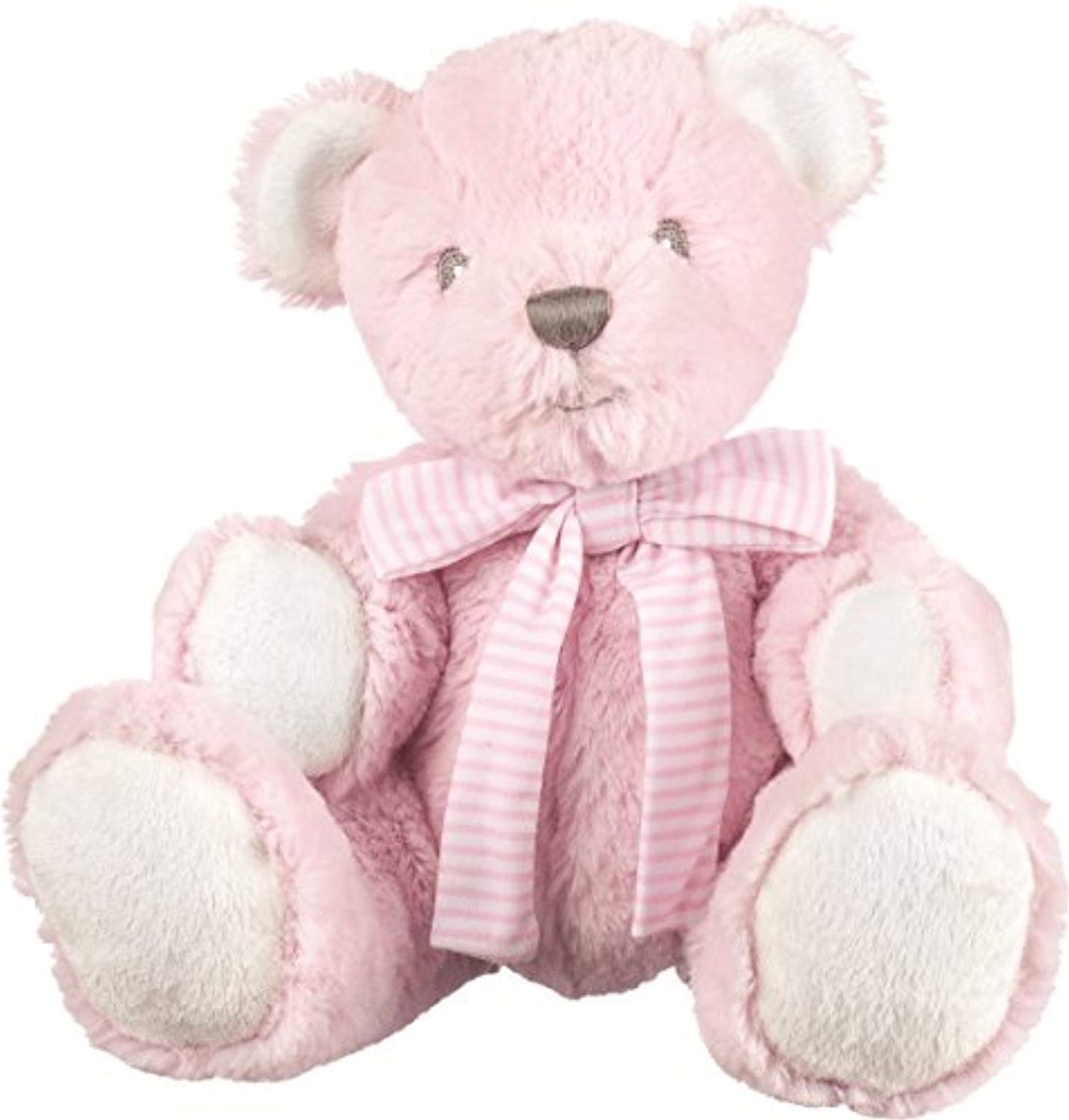 Suki Baby Hug-a-Boo Super Soft Plush Bear with Rattle in Tummy and Striped Cotton Bow (Small, Pink) - iBuy Africa