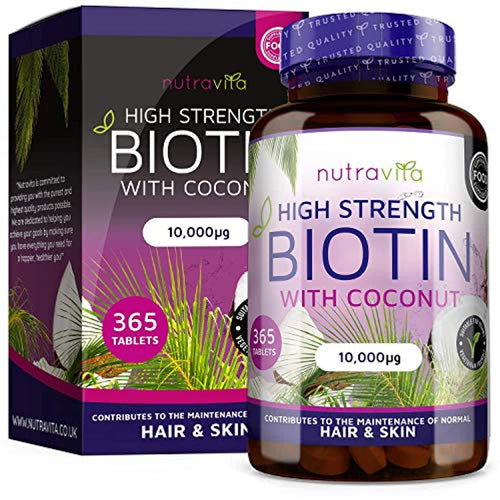 Biotin Hair Growth Supplement 10000mcg - 365 High Strength Biotin Tablets for Hair - iBuy Africa
