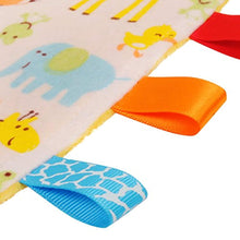 Load image into Gallery viewer, White Baby Tag, Taggy Blanket - Giraffe, Elephant and Chick Animals Tag with Plain Yellow Textured Underside - iBuy Africa