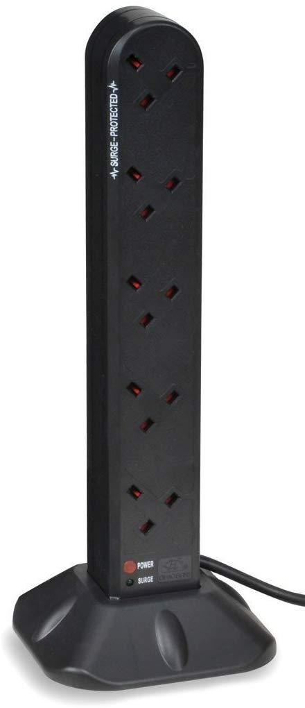 Duronic 12 Way Extension Tower ST12B | 12-Gang Power Strip Lead | Surge & Spike Protector | For UK Plug Sockets | BLACK | Electric Multi Plug Adapter | Max. 3000W Capacity | 2 Metre (2M) Power Cable- Hardware - iBuy Africa