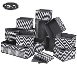 12 PCS Drawer Organiser Dresser Fabric Storage Box Foldable Wardrobe Storage Organiser Drawer Dividers Storage Cubes for Bras, Socks, Underwear, Ties, Scarves, Cosmetics (Grey) - iBuy Africa