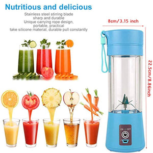 Mini Portable Blender, Smoothie Maker Personal Small Fruit Mixer Baby Food Processor Electric USB Rechargeable Juicer Cup Fruit Mixing Machine Home Travel 380ml,Six Blades 3D - iBuy Africa