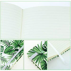 VEESUN A5 Notebook Hardcover Writing Note Pad, 192 Lined Pages, Travel Diary Exercise Books, Jotter with Elastic Closure Bookmark, Birthday Gift for Girl Women Student, Green Leaves 03 - iBuy Africa