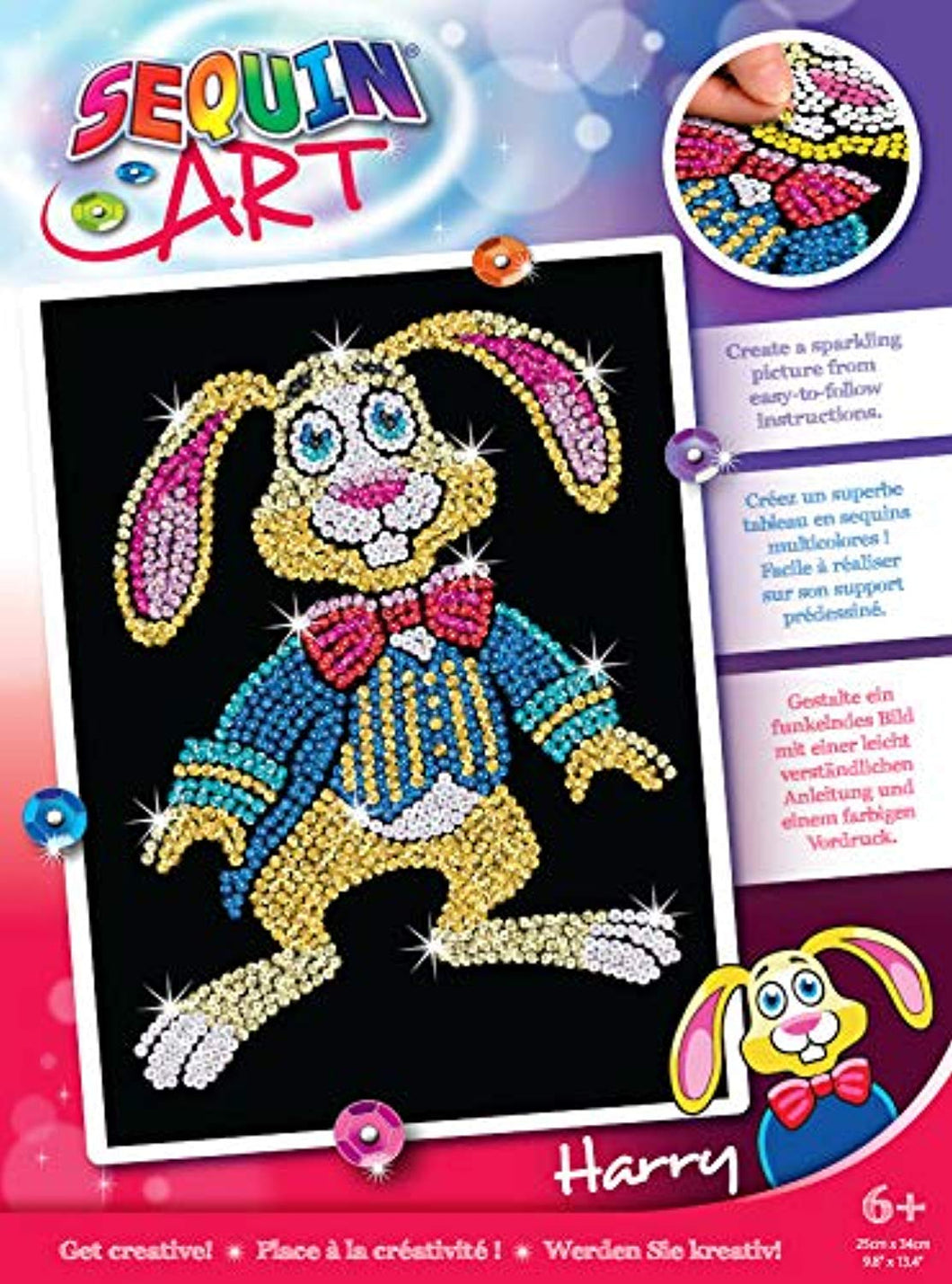 Sequin Art 1825 Harry Hare craft kit from the Red Range 28 x 37 cm - iBuy Africa