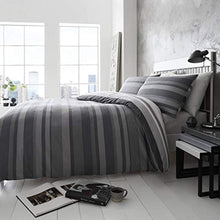 Load image into Gallery viewer, Happy Linen Company Simply Stripes Black Charcoal Grey White Reversible Duvet Cover Bedding Set - iBuy Africa