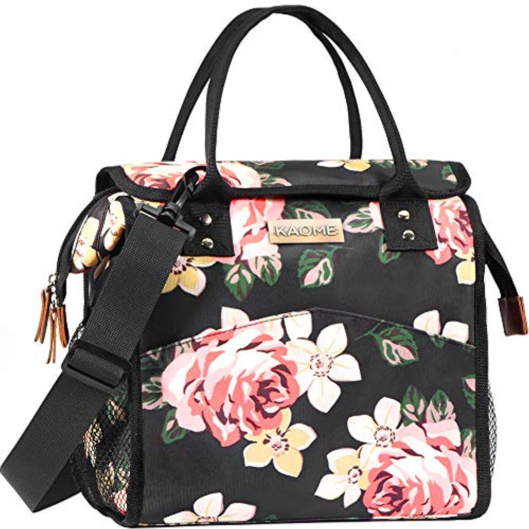 Kaome Lunch Bag Floral Print Large Insulated Cooler and Warmer - Tote Bag for Camping Travel School Waterproof Leakproof Food Box Cooler Bag (Pink) - iBuy Africa