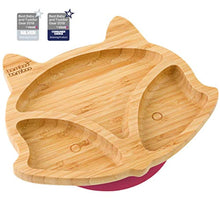 Load image into Gallery viewer, Baby Toddler Fox Cub Suction Plate, Stay Put Feeding Plate, Natural Bamboo (Cherry) - iBuy Africa