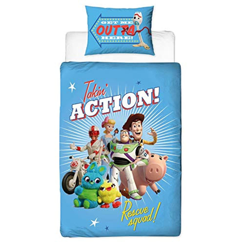 Official Toy Story 4 Single Duvet Cover Rescue Design | Reversible Two Sided Bedding Duvet Cover Featuring Woody & Buzz Lightyear With Matching Pillow Case - iBuy Africa