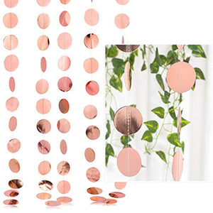 Whaline 52 Feet Reflective Round Paper Garland Sparkling Round Bunting Banner for Wedding Birthday Party Holiday Decorations, 2.75 Inches (Rose Gold) - iBuy Africa