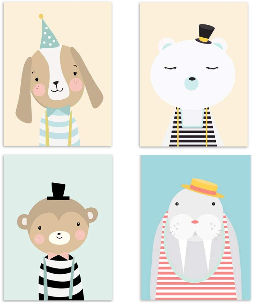 Set of 4 Nursery Baby Room Poster Picture DIN A4 Girl Boy Decoration for Children's Room Forest Animals Safari Scandinavian 4er-a 4er-e - iBuy Africa