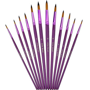 12 Pieces Artist Paint Brushes Fine Paint Brush for Acrylic Watercolor Oil Painting, Purple - iBuy Africa