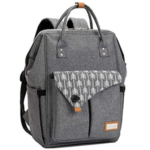 Lekebaby Nappy Changing Bag Backpack with Changing Mat, Arrow Print, Grey - iBuy Africa