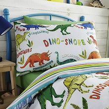 Load image into Gallery viewer, Happy Linen Company Childrens Boys Girls Dinosaur Park Jurassic T-Rex Dino Green Reversible Bedding Duvet Cover Set - iBuy Africa