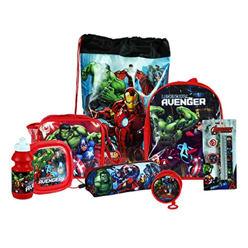Avengers 8PC Back to School Bundle - inc Backpack, Drawstring Sports Bag, Insulated Lunch Bag, Sandwich Box, Water Bottle, Coin Pouch, Pencil Case & Stationery Set. - iBuy Africa