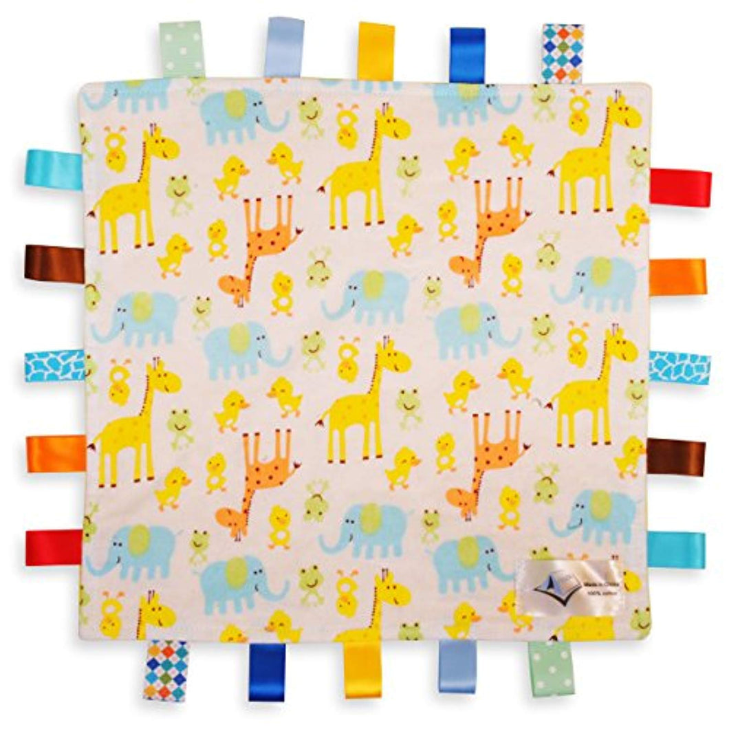 White Baby Tag, Taggy Blanket - Giraffe, Elephant and Chick Animals Tag with Plain Yellow Textured Underside - iBuy Africa