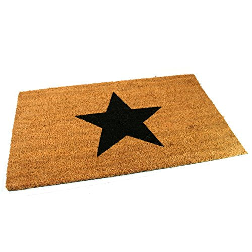 Black Ginger Large, Thick, Decorative, Patterned Coir Door Mats with Nature Designs Black Star - iBuy Africa