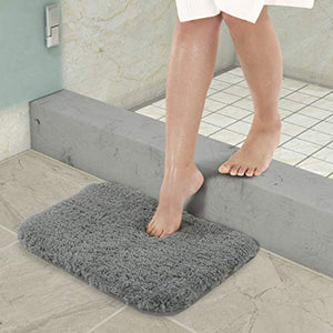Lifewit Water Absorbent Bath Mat Non-slip Antibacterial Rubber Back, Grey Microfiber Bathroom Rug, 40 × 60 × 4cm - iBuy Africa