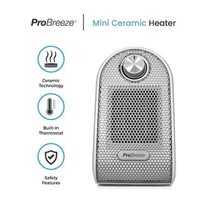 Pro Breeze® Mini Heater - Ceramic Fan Heater perfect for Desks and Tables - Personal PTC Heater, White - iBuy Africa