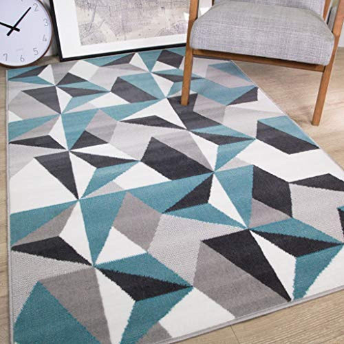 Milan Grey Silver Cream Duck Egg Blue Kaleidoscope Geometric Modern Traditional Living Room Rug - iBuy Africa