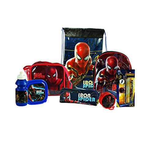 Iron Spider-Man 8PC Back to School Bundle - inc Backpack, Drawstring Sports Bag, Insulated Lunch Bag, Sandwich Box, Water Bottle, Coin Pouch, Pencil Case & Stationery Set. - iBuy Africa