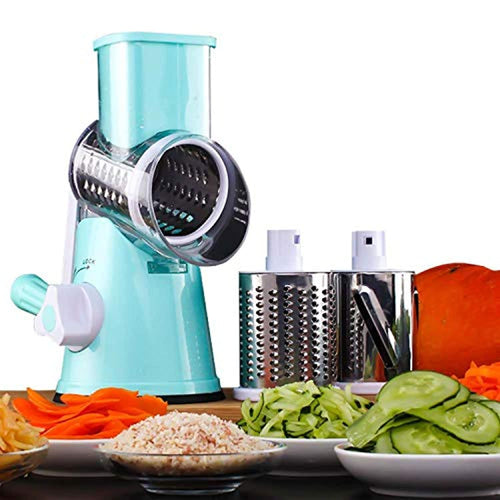 Multifunctional Vegetable and Fruit Cutting Machine, Rotating Drum Cheese Grater with 3 Stainless Steel Revolving Blades, Manual and Safe Milling, Sliced - iBuy Africa