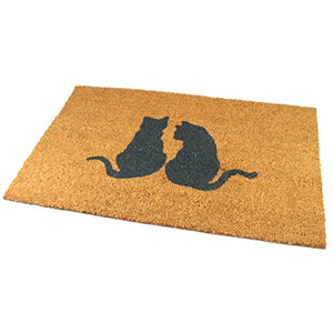 Black Ginger Large, Thick, Decorative, Patterned Coir Door Mats with Nature Designs Pair of Cats - iBuy Africa