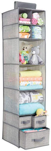mDesign Hanging Wardrobe Organiser - Fabric Hanging Wardrobe Organiser with 7 Shelves & 3 Drawers - Ideal as Hanging Toy Storage for The Nursery - Taupe/Natural Colour - iBuy Africa