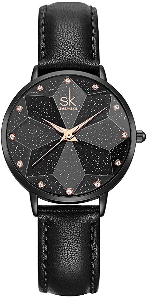 SHENGKE Creative Starry Sky Women Watch with Stainless Steel Mesh Band Genuine Leather Elegant Floral Women Watches Starry-genuine Leather-black - iBuy Africa