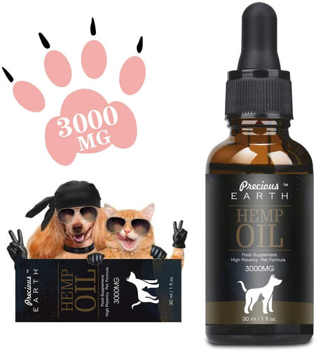 PRECIOUS EARTH Hemp Natural Oil for Dogs & Cats, Organic Hemp-Oil for Pets, Rich in Vitamin E,B & Omega 3, 6 & 9 - iBuy Africa