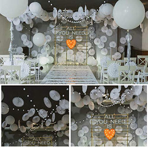 LIHAO Party Decoration 12x Paper Lanterns Tissue Paper Pom Poms Honeycomb Balls Fans Decoration Set for Wedding Celebration Birthday Party Baby Shower Party - White - iBuy Africa