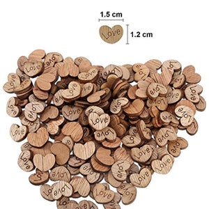 300 Pack Rustic Mini Wooden Heart Shaped Log Slices Art Craft with Love Pattern for Wedding Party Decoration - iBuy Africa