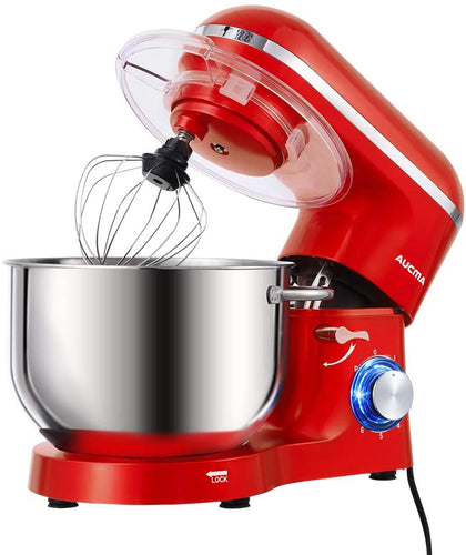 Aucma Stand Mixer, 6.2 L Stainless Steel Mixing Bowl, 6 Speed 1400W Tilt-Head Food Mixer, Kitchen Electric Mixer with Dough Hook, Wire Whip & Beater (Red) - iBuy Africa