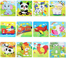 Load image into Gallery viewer, PROW® Wooden Jigsaws 16 Piece Toddler Square Puzzle Toy Elephant Panda Puppy Little Lamb Ship Train Plane Goose Cow Tiger Cock Frog Safe Education Learning Toys (12 pack,each 16 pcs) - iBuy Africa