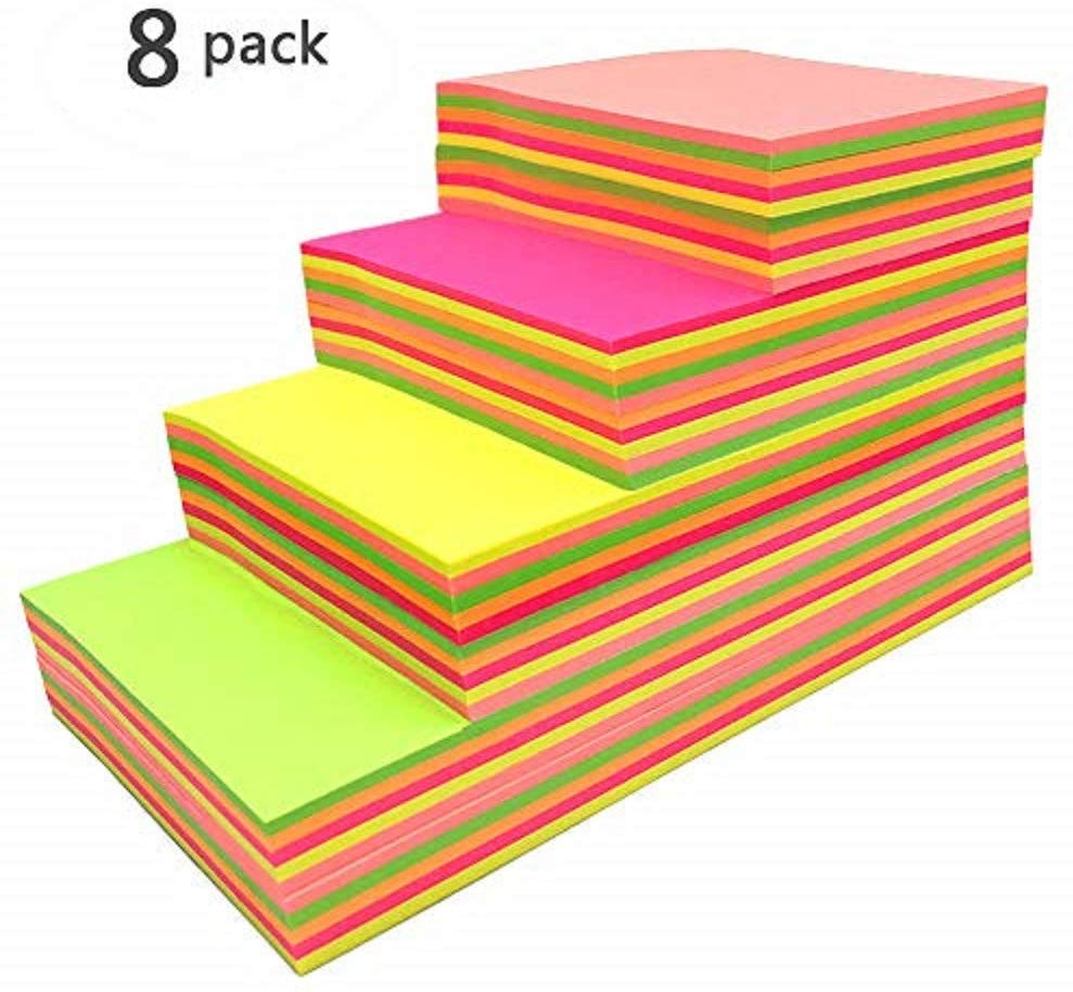 Sticky Notes, Self-Stick Removable Shaped Sticky Notes - 12 Pads Per Pack - 100 Sheets Per Pad -Per Pad 4 Colours - Per Pack 12 Different Shapes Inside-76mm x 76 mm(12 Pack) 8PC Square - iBuy Africa