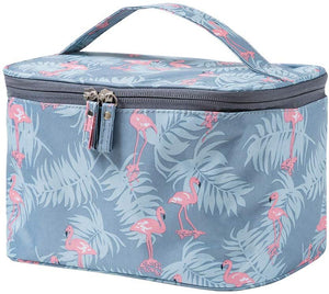 JooNeng Large Makeup Bags,Travel Waterproof Cosmetic Bag Temperament Organiser Storage Pouch For Women (Blue Flamingo) - iBuy Africa