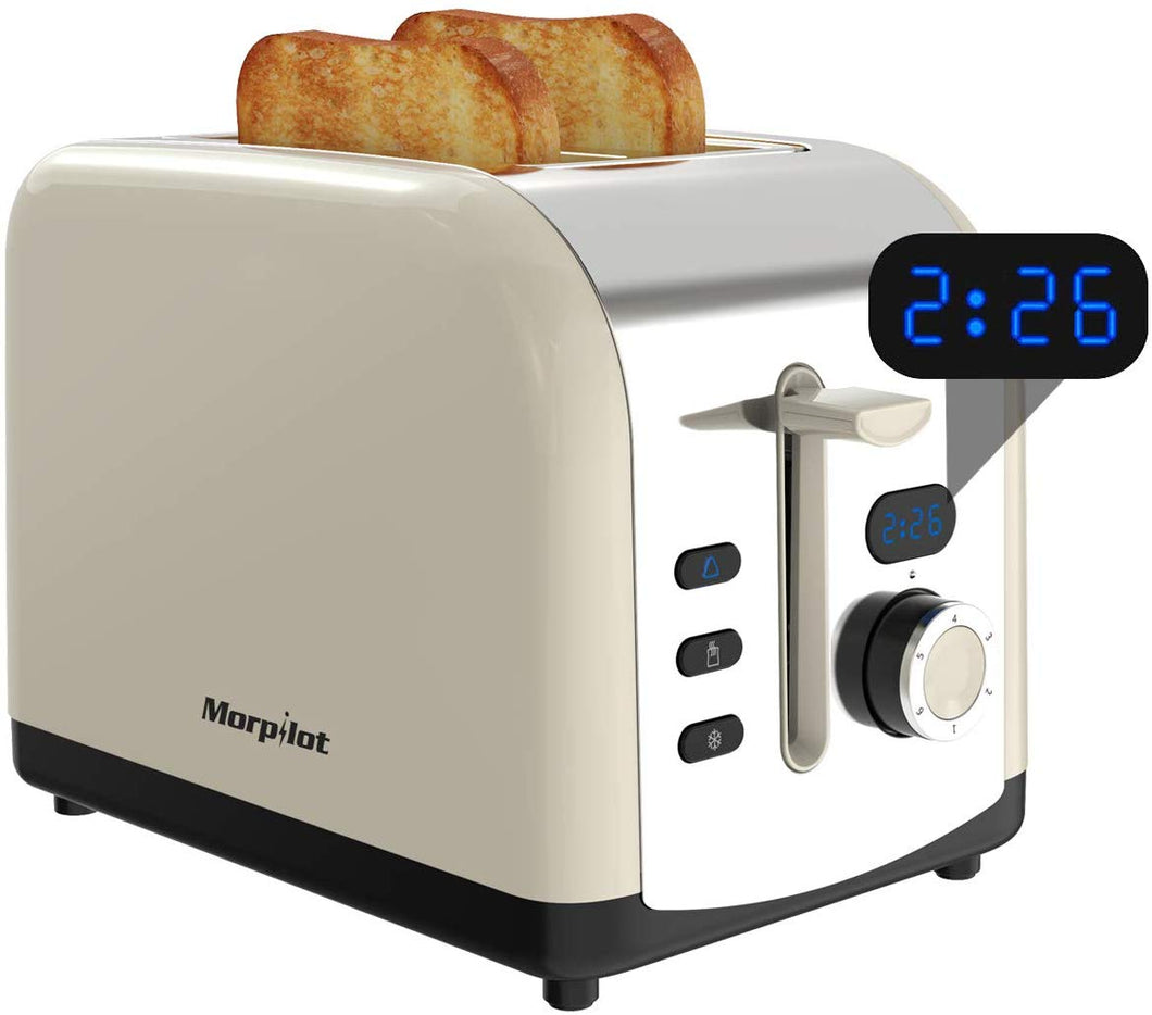 2 Slice Toaster, Morpilot Toaster with 2 Wide Stainless Steel Slot and LED Display Beige&led - iBuy Africa