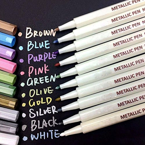 Metallic Marker Pens, beupro Glass Pens, Specific Set of 10 Colors for Photo Album Drawing/DIY Album Making/Card Making, Use on Any Paper, Glass, Plastic, Pottery, Wood Surface - iBuy Africa