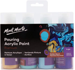 Mont Marte Premium Acrylic Pouring Paint Set, Metallic, 4 x 4oz (120ml) Bottles, Pre-Mixed Acrylic Paint, Suitable for a Variety of Surfaces Including Stretched Canvas, Wood, MDF and Air Drying Clay. - iBuy Africa