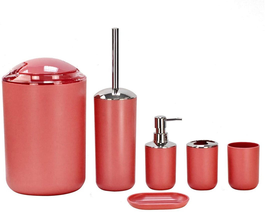 6pc Bathroom Accessories Set - Lotion Dispenser, Soap Dish, Holder, Tumbler and Bin, Dark Grey Red - iBuy Africa