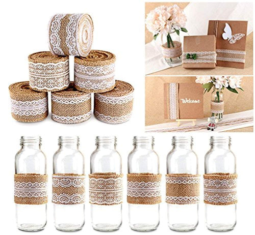 FunRun 9 Rolls Natural Hessian Ribbon with Lace Detail - Hessian Lace Ribbon Burlap Jute Lace Ribbon Jam Jars for Rustic Wedding Decorations DIY Handmade - iBuy Africa