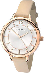 Sekonda Women's Quartz Watch with Analogue Display and PU Strap Beige Strap/Silver Dial - iBuy Africa