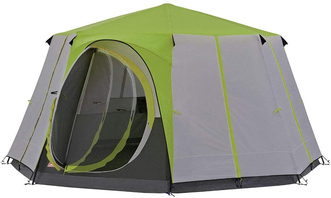 Coleman Tent Octagon, 6 to 8 Man Festival Dome Tent, Waterproof Family Camping Tent with Sewn-in Groundsheet Green/Grey - iBuy Africa