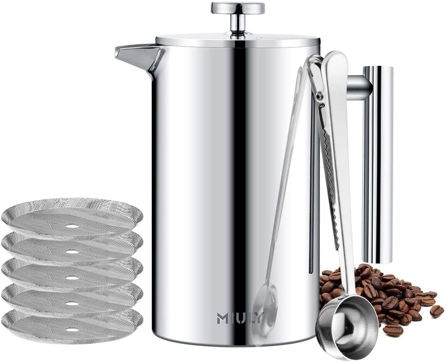 MIULY French Press Cafetière 1000ml/8 Cup Stainless Steel Espresso Coffee Maker 1000ml Sliver - iBuy Africa