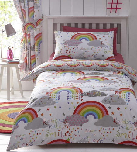 Kids Club Clouds and Rainbows Reversible Duvet Cover, cotton-blend, White, Single - iBuy Africa