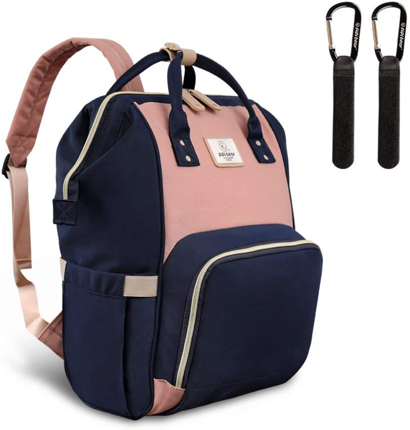 Pipi bear Changing Backpack Bag - Large-Capacity, Lightweight and Multi-Functional Nappy Backpack with Insulated Pockets, New Fashion Travel Backpack for Mom and Dad (Ivory&Navy Blue) Pink&Navy Blue - iBuy Africa
