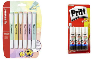 Highlighter - STABILO Swing Cool Pastel Blister of 6 Assorted Colours &Post-it Page Markers 12.7 x 44.4 mm Self-adhesive document flags in assorted bright colours, Pack of 10 pads (50 markers per pad) Highlighter + Pritt Stick Multi Pack - iBuy Africa