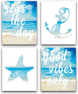 "KARTME Ocean Beach Art Print Set Of 4 (8""X10""), Good Vibes Only -Seas The Day Inspirational Quote Printing, Anchor Starfish Beach Theme Canvas Print, No Frame Ocean Beach - iBuy Africa"